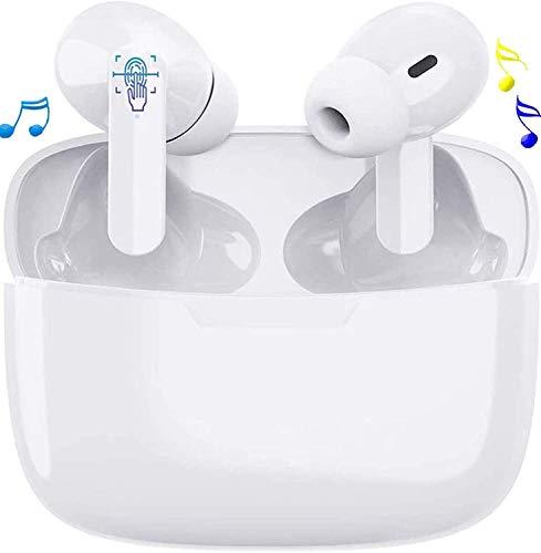 Auriculares inalámbricos Bluetooth, Auriculares inalámbricos 3D estéreo HD, emparejamiento automático para Llamadas binaurales, con Estuche de Carga portátil para Samsung/iPhone/Xiaomi