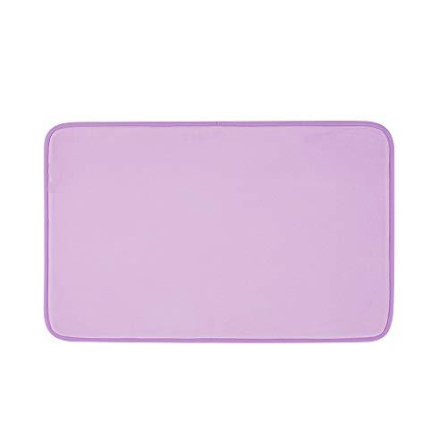 SHIMAKYO Soft Velvet Memory Foam Bath Mats, 20'X17' Super Absorbent Non Slip Bathroom Rugs, Machine Washable, Fast Drying, Lavender Purple