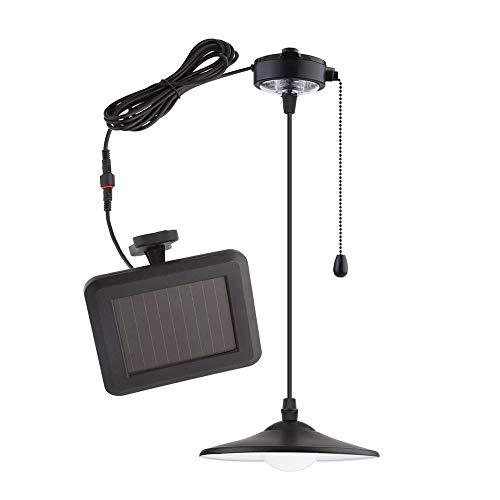 MVPower Luce Solare LED Lampada a Sospensione Luce Bianco con Pannello Solare, Con Telecomando e Cavo di Tiro, Perfetto per Campeggio Giardino Garage Studio