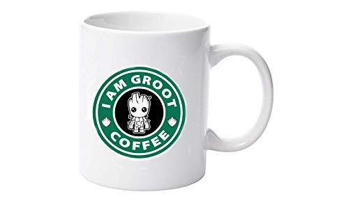 DKISEE Taza de cerámica con texto en inglés 'I am Groot Coffee Parody', 325 ml, diseño de cómic