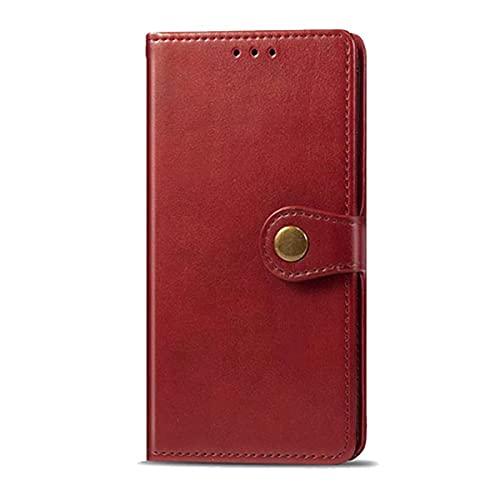 iPhone 7/8/SE (2020) スマホケース 手帳型 手帳型ケース シンプル レザー 合皮 マグネットボタン カード収納 スタンド 閉じたまま通話可能 ストラップホール付き レッド i7-1234