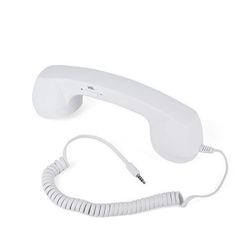 Retro Cell Phone Handset, Anti-Radiation Vintage Wired Telephone Headphones 3.5mm Mobile Phone Handset Receivers w/Mic Only for iOS Phone(White)