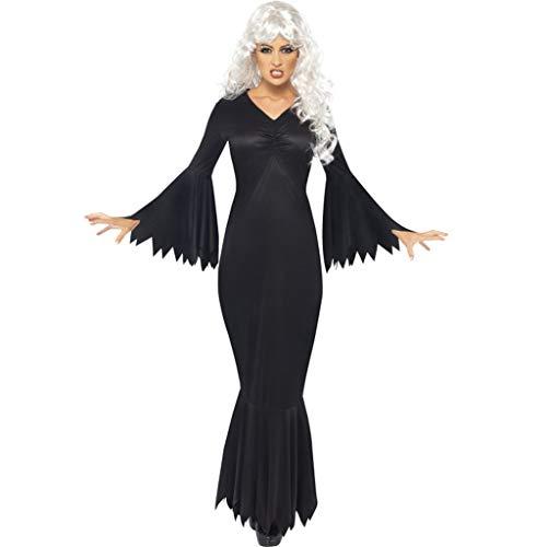 Find Discount TOPUNDER Women New Halloween Soild Dress V-Neck Zipper Hepburn Party Dress Black