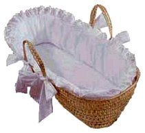 Baby Doll Bedding Carnation Eyelet Moses Basket, White