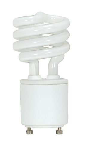 Satco S8202 11 Watt (40 Watt) 650 Lumens Mini Spiral CFL Soft White 2700K GU24 Base Light Bulb