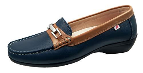 Fluchos   Zapato de Mujer   ADUNA F0808 Sugar Marino   Zapato de Piel   Cierre con Mocasín   Piso de Goma