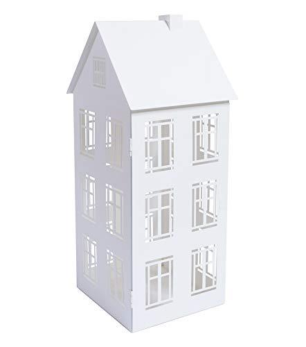 Home&Decorations Lanterna A Forma Di Casa In Metallo Bianca E Rossa Con Antivento 20,7 X 19,5 X 47,5 Cm Bianca