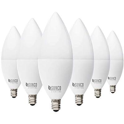 Sunco Lighting 6 Pack B11 LED Candelabra Bulb, Dusk-to-Dawn, 5W=40W, 3000K Cool White, 450 LM, E12 Base, Outdoor Decorative Light for Sconces - UL