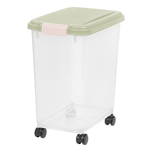 Best Review Of IRIS 33 Quart Airtight Pet Food Container, Sage