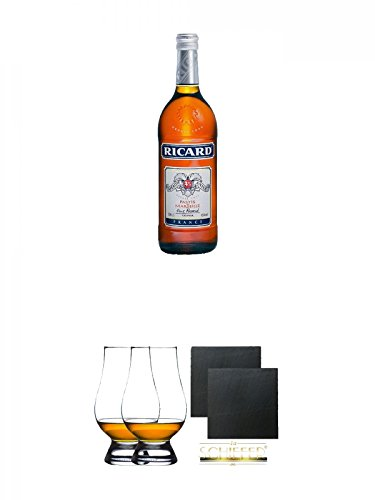 Ricard Anislikör Pastis de Marseille Frankreich 0,7 Liter + The Glencairn Glas Stölzle 2 Stück + Schiefer Glasuntersetzer eckig ca. 9,5 cm Ø 2 Stück