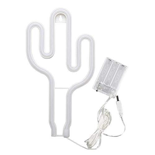 Luz de neón, lámpara de cactus LED, placa en forma de cactus, USB recargable para colgar en la pared, decoración para mesita de noche, salón, fiesta, bar, boda
