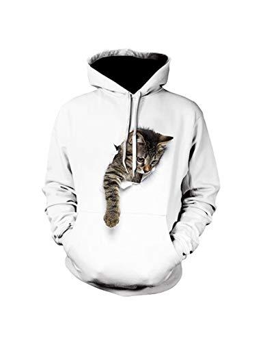 SOMTHRON Felpa con cappuccio da uomo con stampa di gatto, grafica 3D, con tasca e cappuccio, per autunno e inverno bianco XXL