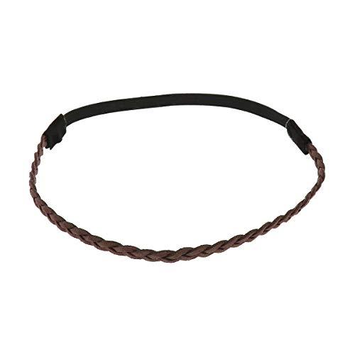 Braunes Damen Haarband - Suede Einfaches und Einfarbiger Geflochtenes Hairband, Samtaspekt - Einheitsgrößer Dünnes Stirnband - Hochzeit Vintage Headband - Original Look Boho, Hippie