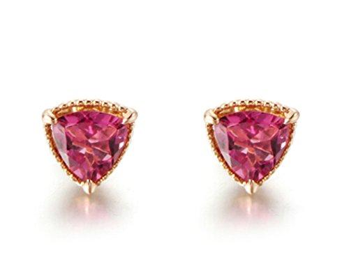 AieniD Gioielli 18K Oro Oro Rosa Orecchini Per Donne Triangolare Nozze Orecchini Dimensione:0.65X0.65CM Peso:1.22G