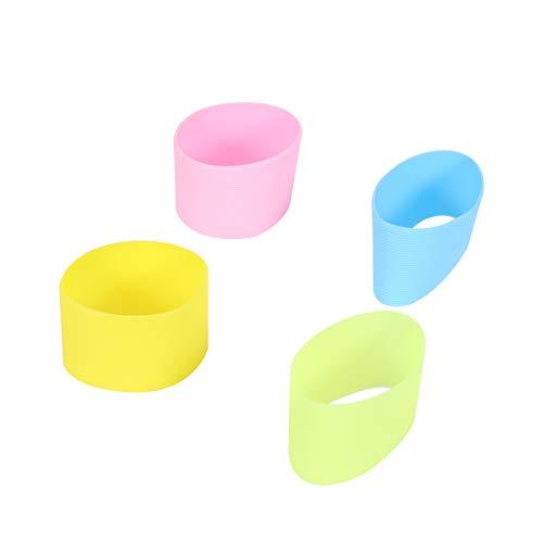 BESTONZON 4pcs silicone résistant à la chaleur de la coupe manchon de protection anti-dérapant couvercle de verre d'eau pour tasse de bouteille(vert + bleu clair + rose + jaune)
