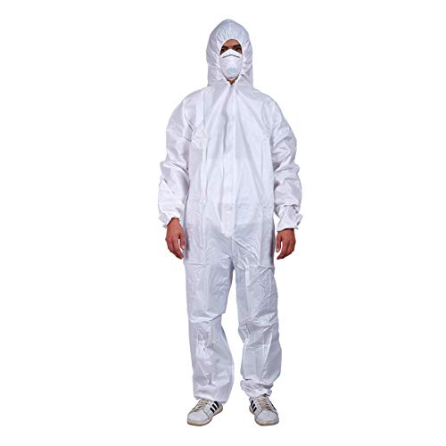 Cleaing 2 Pack SMS Disposable Coveralls with Hood XL, Paint Suit, with Elastic Cuffs and Ankels