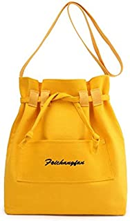 Shoulder Handbag Bucket Bag Student Literary Fashion Simple Casual Canvas Messenger Bag Woman (Color : Yellow)