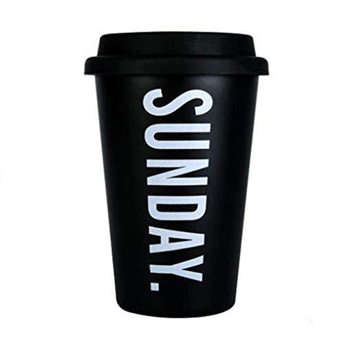 PLDKFB Kaffeetasse Wiederverwendbare Keramik-Reisebecher Silikondeckel Bone China Cups Reisebecher Tee Kaffee, Sonntag Schwarz