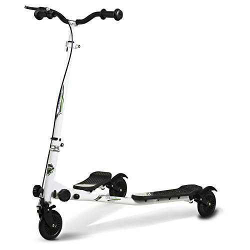 Uenjoy Kids Swing Scooter 3 Wheels Foldable Swing Car Y Wiggle Scooter 3-Level Adjustable Height Swing Wiggle Scooter for Age 5+ Boys Girls and Adult~White-Black