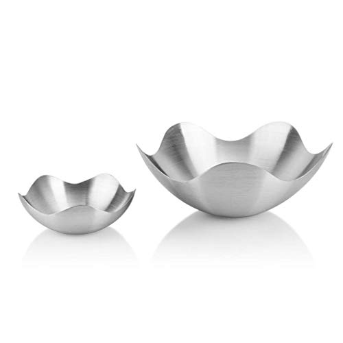 LILICEN Bowl Ceramic Bowl Bowls Dishware Metal Fruit Plate, Creative Lotus-Shaped Stainless Steel Metal Fruit Plate Candy Basket Size Two Packs Fruit Tray Storage Storage Snack Tray for Kitchen Restau