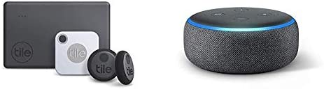 Tile Essentials 2020 4 Pack 1 Mate 1 Slim 2 Stickers Echo Dot 3rd Gen Amazon Smart Speaker with product image