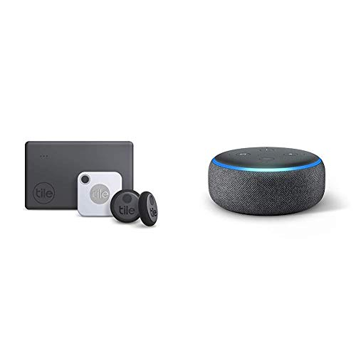 Tile Essentials (2020) - 4-Pack (1 Mate, 1 Slim, 2 Stickers) Echo Dot (3rd Gen) Amazon Smart Speaker with Alexa