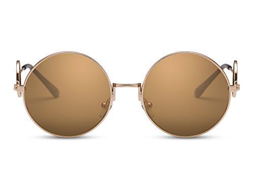 Cheapass John Lennon - Gafas de sol redondas (efecto espejo, retro, unisex), color dorado Amarillo Ca: 016 - amarillo.