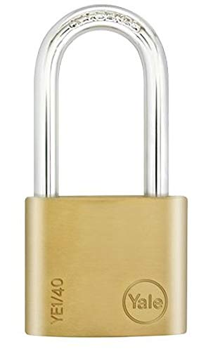 Yale YE1/40/152/1 Long Shackle Brass Padlock, 40mm, pack of 1, suitable for sheds and gates