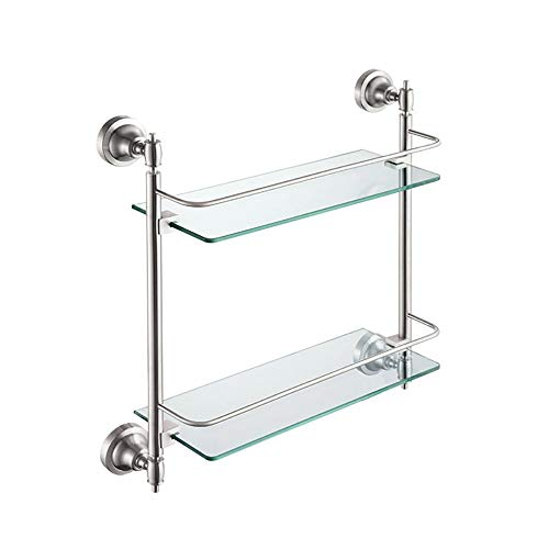 LIYONG Handtuchschienen Edelstahl Waschregale Badezimmerregal Badezimmer Doppelglasregal Kosmetik Regal Handtuchständer HLSJ