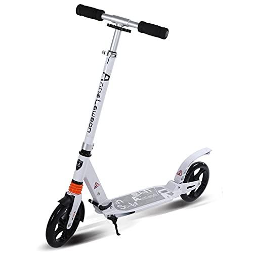 patinetes Scooter Urbano, Altura Ajustable en Tres velocidades, Cuerpo liviano, Plegable, Amplia Gama de Uso(Color:Blanco)