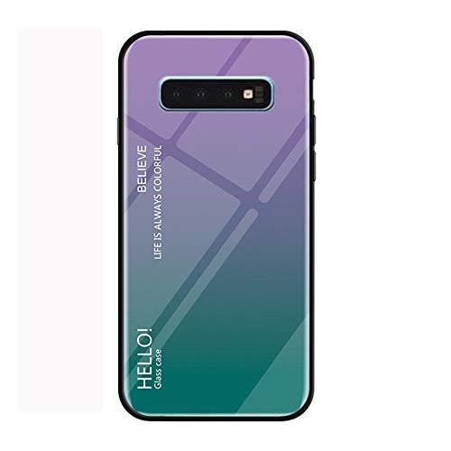 Funda Samsung Galaxy S10 Plus Vidrio Templado,Ultra Fina TPU + Cristal Templado Cubierta Trasera Carcasa Gradiente de Color es Durable para Galaxy S10 Plus (Galaxy S10 Plus, Púrpura + Azul)