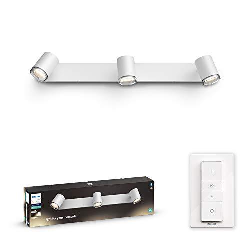 Philips Hue White Ambiance Adore, 3 Faretti da Bagno Smart Inclusi, con Bluetooth, Attacco GU10, 5.5 W, Bianco, Telecomando Dimmer Switch Incluso
