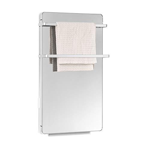 KLARSTEIN Hot Spot Crystal Flow - 2in1, Radiatore a Infrarossi, Scaldasalviette Elettrico, Elemento Riscaldante PTC, 45x82 cm, 2000 W, Termostato: 5-40 °C, Display a LED, Telecomando, a Specchio
