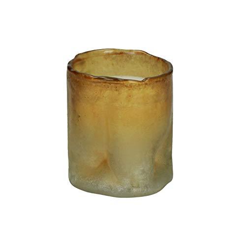 Pomax Bougie parfumée Moze Ambre – Bougie de qualité supérieure dans un verre décoratif – Doré/blanc Ø 8 x H 9 cm