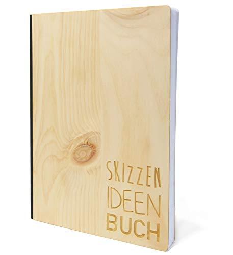 Notizbuch mit Holz Cover in A5 - Skizzen und Ideen Buch - Echtholz Notebook zum Reinschreiben Zirbenholz Holzeinband 192 blanko Seiten 90g