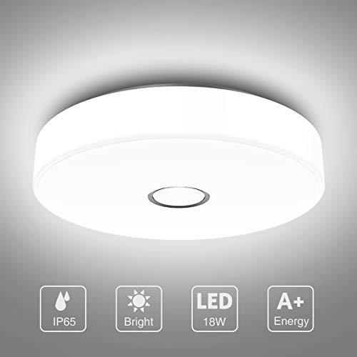 Onforu 18W LED Deckenleuchte Badezimmer, Wasserdicht Deckenlampe, 1600lm 5000K Kaltweiß Küchenlampe, CRI über 90 Badezimmerlampe, Decke Badlampe Lampe für Küche, Schlafzimmer, Wohnzimmer, Bad