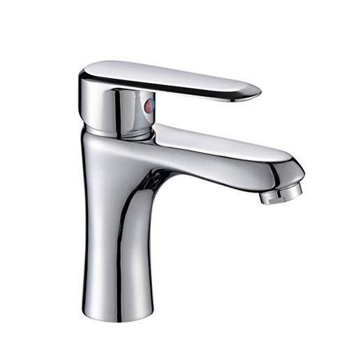TOPBATHY Grifo de una sola mano para lavabo frío y caliente, grifo de un agujero para lavabo (sin manguera caliente y fría)