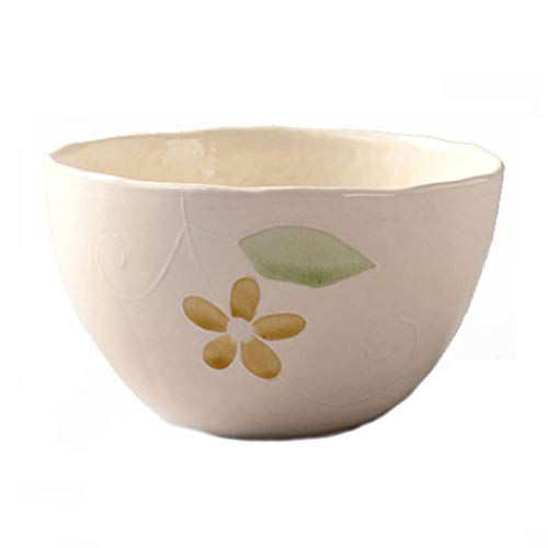 Noedels Kommen Kleur Noodle Bowl, soep havermoutpapkom Ronde Bowl Fruit Salad Bowl Eet handgeschilderde Pattern Restaurant Kitchen Wees van toepassing (Color : Beige)