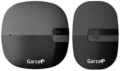 Garza ® - Timbre inalámbrico exterior con IP44 para casa. Llamador eléctrico para puerta de 220v, pulsador resistente a salpicaduras y polvo, alcance 260m, portátil, 36 melodías, negro