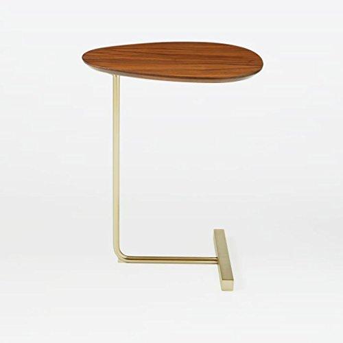Lzz en Forme de Ovale Petite Table Basse créatif Simple Bois Massif canapé Un Coin de Chevet en Fer forgé Moderne Paresseux Table de Lecture Taille: 30 * 45 * 60cm