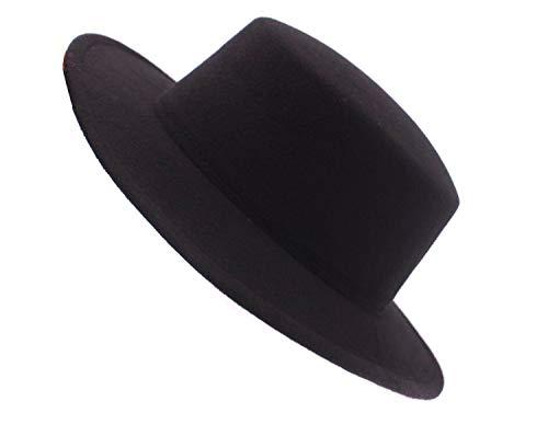 Fedora-Hut für Erwachsene, Unisex, modisch, klassisch, Wollmischung, große breite Krempe, flache Kirche, Derby-Kappe, Kopfbedeckung für Hochzeit, Party, Talent, Show, Performance, 1 Stück