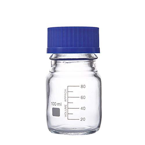 Botella de reactivo graduada de vidrio grueso vacío de 100ml/3.4oz con tapón de tornillo azul botella de agente químico de laboratorio Contenedores de almacenamiento de líquidos Pot