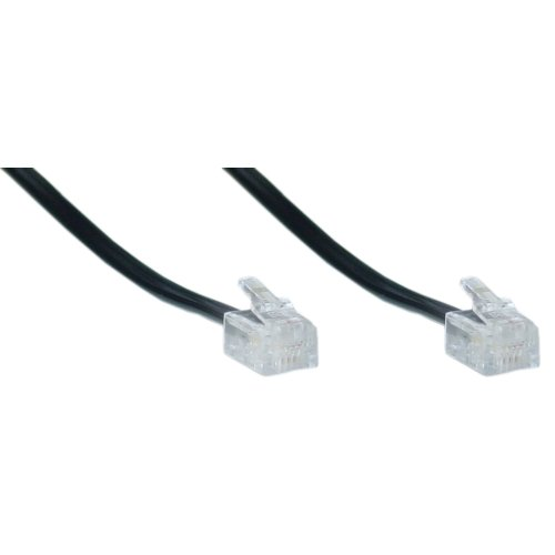 Phone Line Cord Fax Modem Landline RJ11 Telephone DSL Cable 6P4C (2 Pack) Universally Compatible (20 Feet, Black)