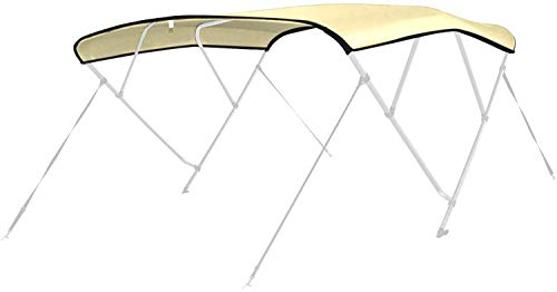 Leader Accessories 3 Bow and 4 Bow 600D Polyester Bimini Canvas Replacement Without Poles (Beige, Fits 3 Bow 6'L x 46