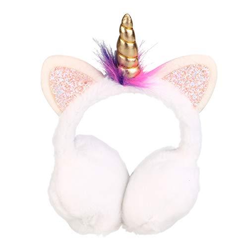 TENDYCOCO süsse Ohrenschützer für Kinder Mädchen rosa Einhorn Plüsch Ohrenschützer Outdoor Ohrenschützer Kopfbedeckungen Ohrenschützer für Kinder Mädchen - weiss