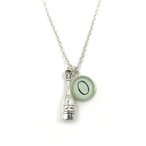 Silver Plated Personalised Wine Bottle Necklace| Wine Bottle| Personalized Necklace| Initial Charm| Monogram| gift for her| wine lover