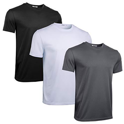 iClosam Herren Sportshirt 3 Pack Atmungsaktiv Kurzarmshirt fürMänner,Schwarz+weiß+grau,M