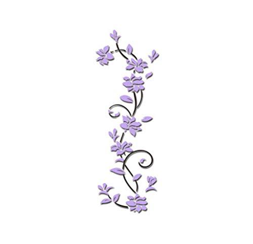 UJUNAOR Wandtattoo mit Schmetterlingen | Wandbild: 24 * 80cm | Wandsticker Blumen Wandaufkleber Blume | Deko für Wohnzimmer Schlafzimmer Küche Flur(Lila,One size)