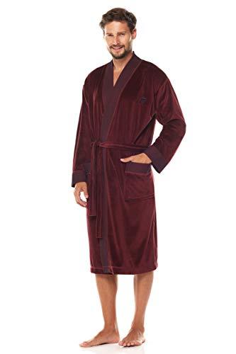L&L – 2050 Peignoir de en Tissu éponge pour Hommes. Extrêmement léger. Robe de Chambre complète de Robe d'intérieur. (Claret, XX-Large)