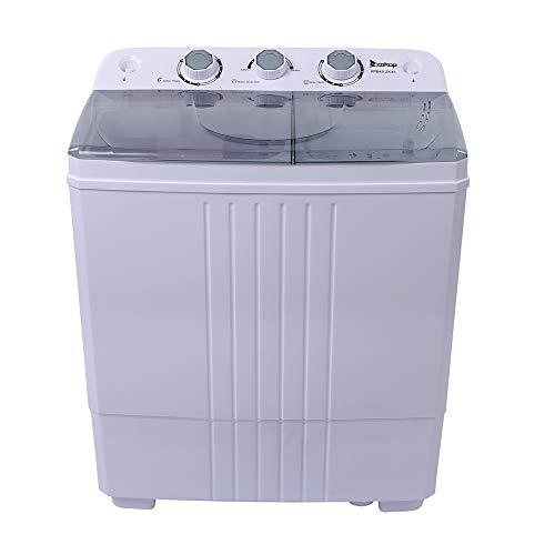 Lavadora portátil y secador de centrifugado, mini lavadora, doble bañera, ciclo de centrifugado con manguera, cubierta semiautomática de color gris